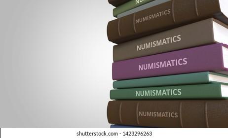 Pile of books on NUMISMATICS, 3D rendering