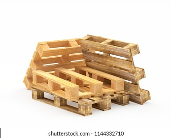 Pile of brown wooden pallets isolated on white background. 3D illustration
