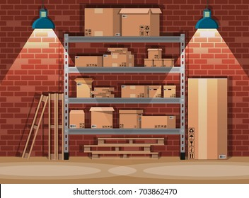 Pile cardboard boxes on warhouse shelves. Carton delivery packaging open and closed box with fragile signs. Brick wall and lamp. illustration in flat style