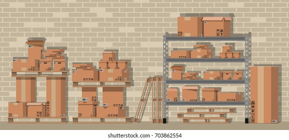 Pile cardboard boxes on warhouse shelves. Carton delivery packaging open and closed box with fragile signs. Brick wall. illustration in flat style