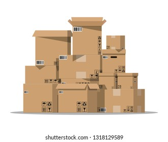 Pile cardboard boxes set. Carton delivery packaging open and closed box with fragile signs. illustration in flat style