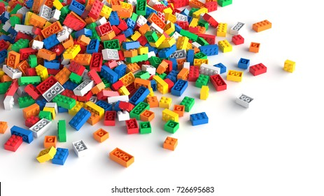 Pile of colored toy bricks on white background. 3D Rendering.