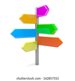 Pile of Colorful Arrows Road Sign 3D Illustration
