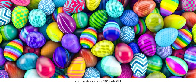 Pile of colorful easter eggs 3d illustration
