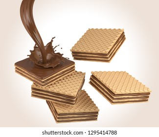 Pile of cube wafer biscuit with Chocolate milk cream splash, include Clipping path 3d illustration.