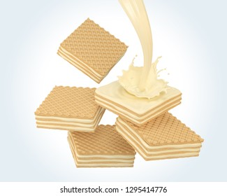 Pile of cube wafer biscuit with milk or vanilla cream splash, include Clipping path 3d illustration.