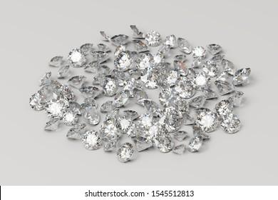 Pile of diamonds on white background. 3D illustration