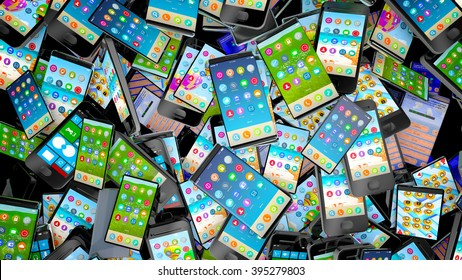 Pile of different types of cell phones. Technology or recycling concept.