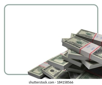 Pile of dollars in the bank packages