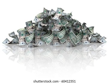 Pile of dollars - isolated over a white background