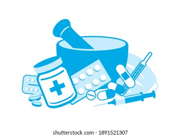 Pile of drugs in pharmacy icon set. Mortar and various drugs illustration. Medical equipment blue icon set isolated on a white background. Various medicine clip art