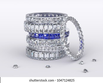 Pile of eternity rings with various cut diamonds, sapphires, loose diamonds on white background. 3D rendering illustration