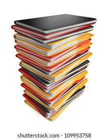 Pile of folders and files. 3D Icon isolated on white
