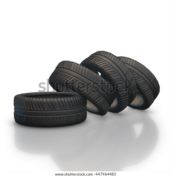 Pile of four new black wheel tyres for car. Isolated on white background 3d render