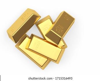A pile of gold bars isolated on white background. 3D illustration