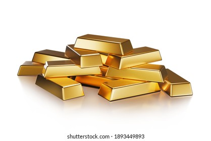 Pile of Gold bars isolated on white background with clipping path Financial success, business investment and wealth concept. 3D rendering