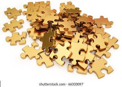 pile of gold puzzle elements scattered on the surface. isolated on white with clipping path.