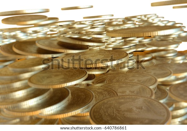 Pile of golden us dollar coin focus on center represent to financial target concept.3d illustrations.