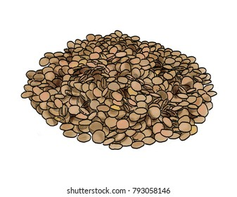 A pile of green lentils, isolated on a white background