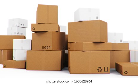 Pile, heap of cardboard boxes isolated on a white background. Cardboard boxes for the delivery of goods. Packages delivery, parcels transportation system concept, 3D illustration