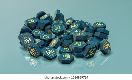 a pile of hexagons with chemical elements symbols (3d render)