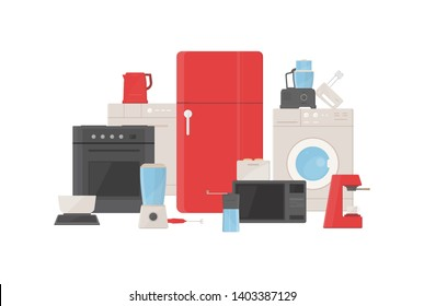 Pile of kitchen utensils, household appliances, cooking facilities, electric tools and equipment for food preparation isolated on white background. Colorful illustration in flat cartoon style