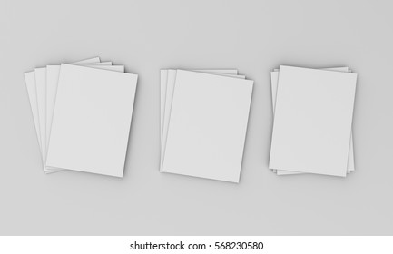 Pile of magazine or catalog mock-up template on light grey. 3D rendering