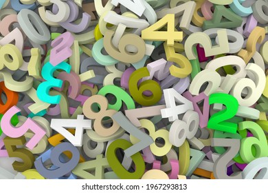 A pile of Numbers. 3d render.
