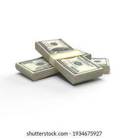Pile of One Hundred Dollar bills on white 3d rendering