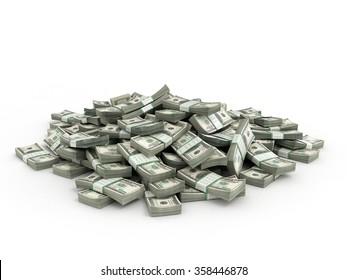 Pile of packs of dollar bills money 3d render