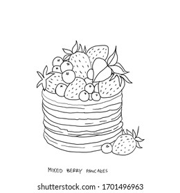 Pile of pancakes with berries, bakery product with strawberry, blueberry, cafe breakfast. Sweet meal, homemade dessert. Line drawing hand sketch cartoon illustration, hand drawn illustration isolated