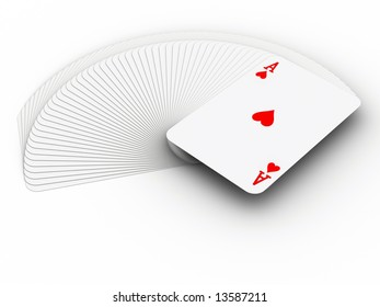 A pile of play cards with ace on top - 3d render