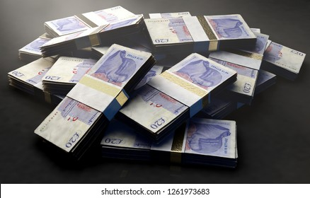 A pile of randomly scattered bundles of british pound banknotes on an isolated background - 3D render