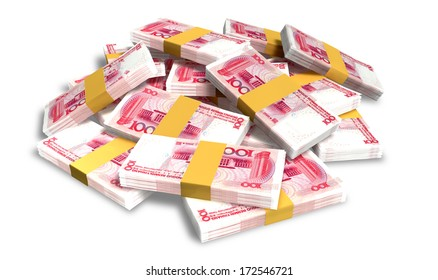 A pile of randomly scattered wads of chinese yuan banknotes on an isolated background