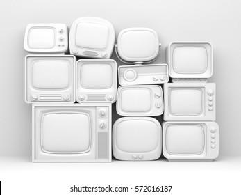 Pile of retro TV - white toned. 3d illustration