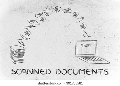 pile of sheets being turned into data, concept of scanning documents