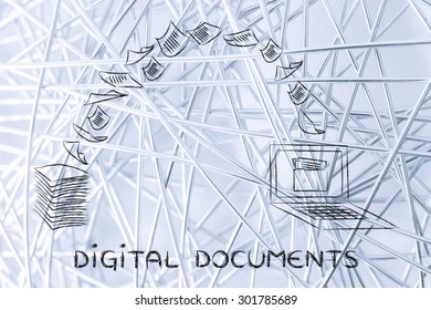 pile of sheets being turned into data, concept of digital documents