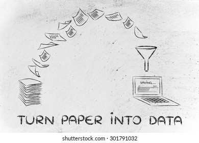 pile of sheets being turned into digital data, concept of paperless office