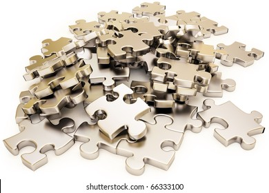 pile of silver puzzle elements scattered on the surface. isolated on white with clipping path.