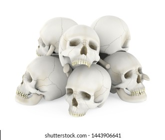Pile of Skulls Isolated. 3D rendering