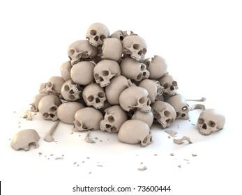 pile of skulls isolated over white 3d illustration