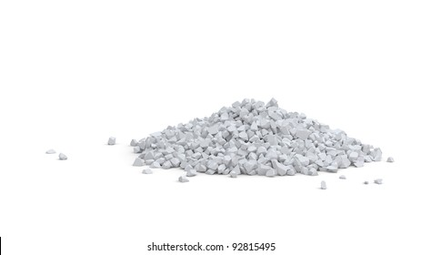 Pile of small white rocks isolated on white