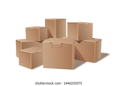 Pile of stacked sealed goods cardboard boxes. Delivery, cargo, logistic and transportation warehouse storage concept.  illustration isolated on white background.