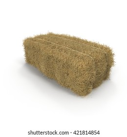 A pile of straw on a white 3D Illustration
