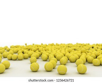 Pile of tennis balls with place for Your text isolated on white background. 3D illustration