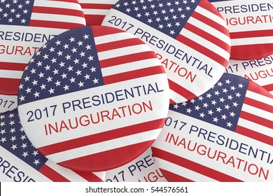 Pile Of US Flag Presidential Inauguration 2017 Badges, 3d illustration