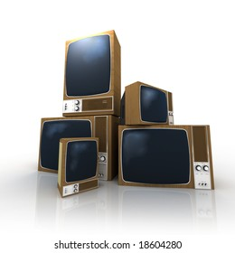 A pile of vintage televisions in different positions