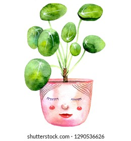 Pilea peperomioides, chinese money plant or pancake plant with cute face on pot. Hand-drawn watercolor illustration with trendy house plant.