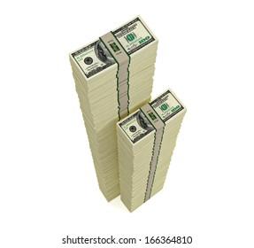 Piles of 100 Dollar bills - 3D rendering