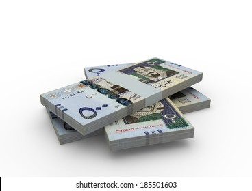 Piles of 3D Saudi money isolated on white background
